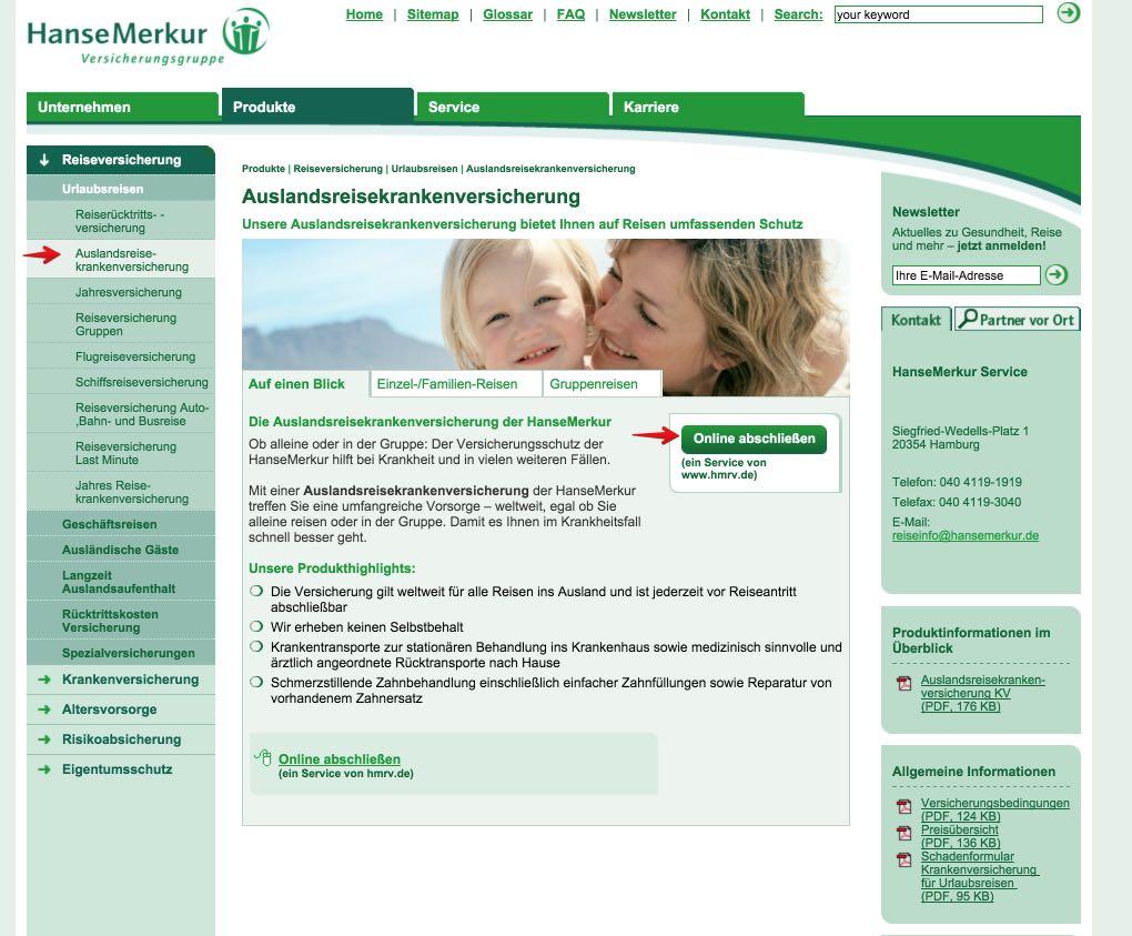 Auslandsreisekrankenversicherung online abschließen
