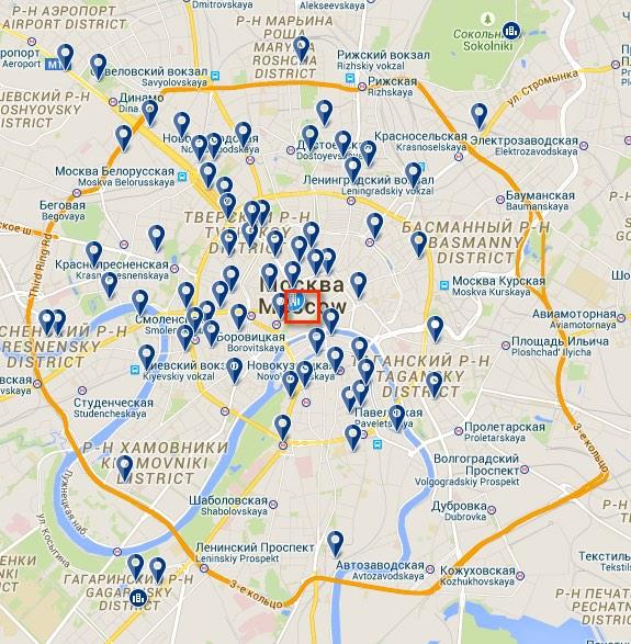 6 Unterkunft in Russland Moskau Karte