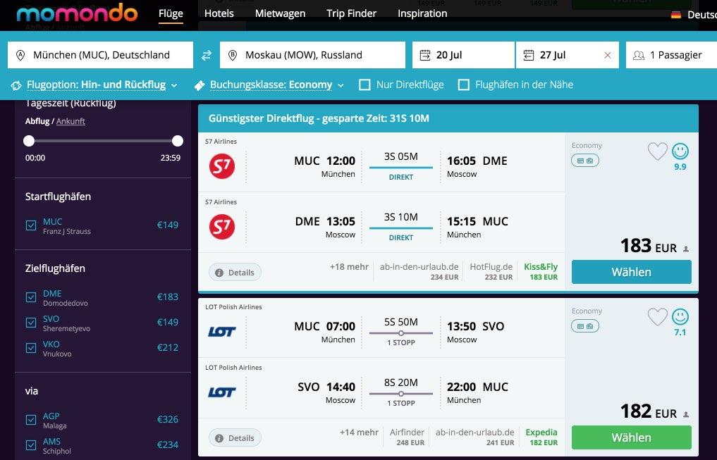 Flug München Moskau - Billigflüge Preisvergleich