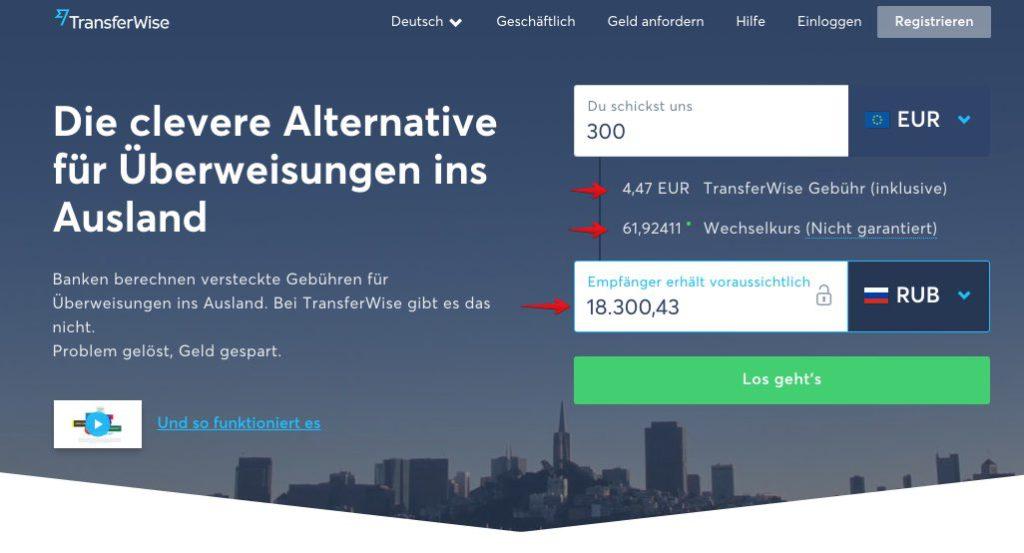 Geld online überweisen Mit TransferWise Geld ins Ausland versenden - Russland