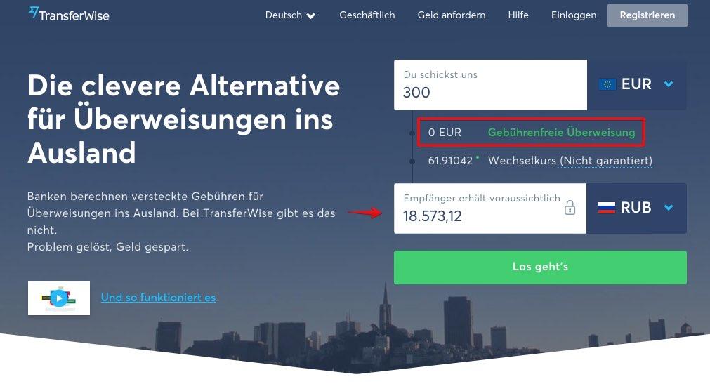 Geld online überweisen Mit TransferWise Geld ins Ausland versenden - Russland 2