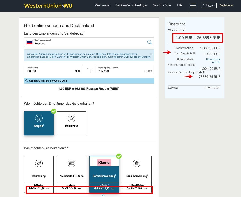 Senden Sie mit WesternUnion Geld nach Russland