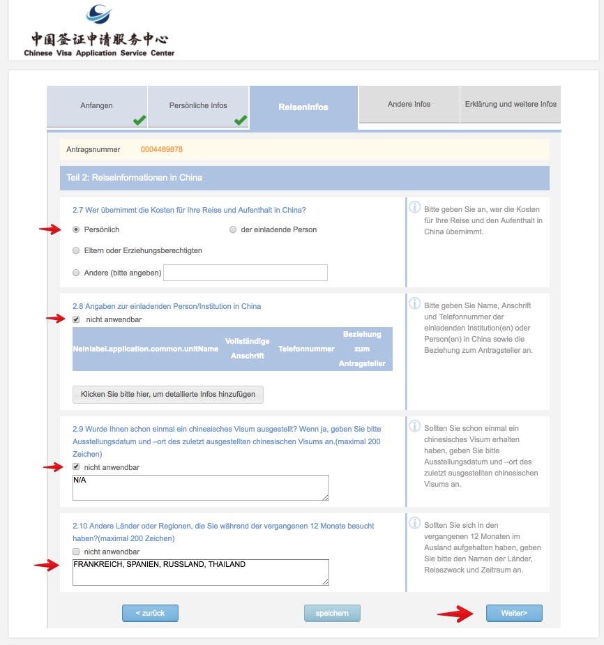 Fullen Sie das chinesische Visumantragsformular 10 aus