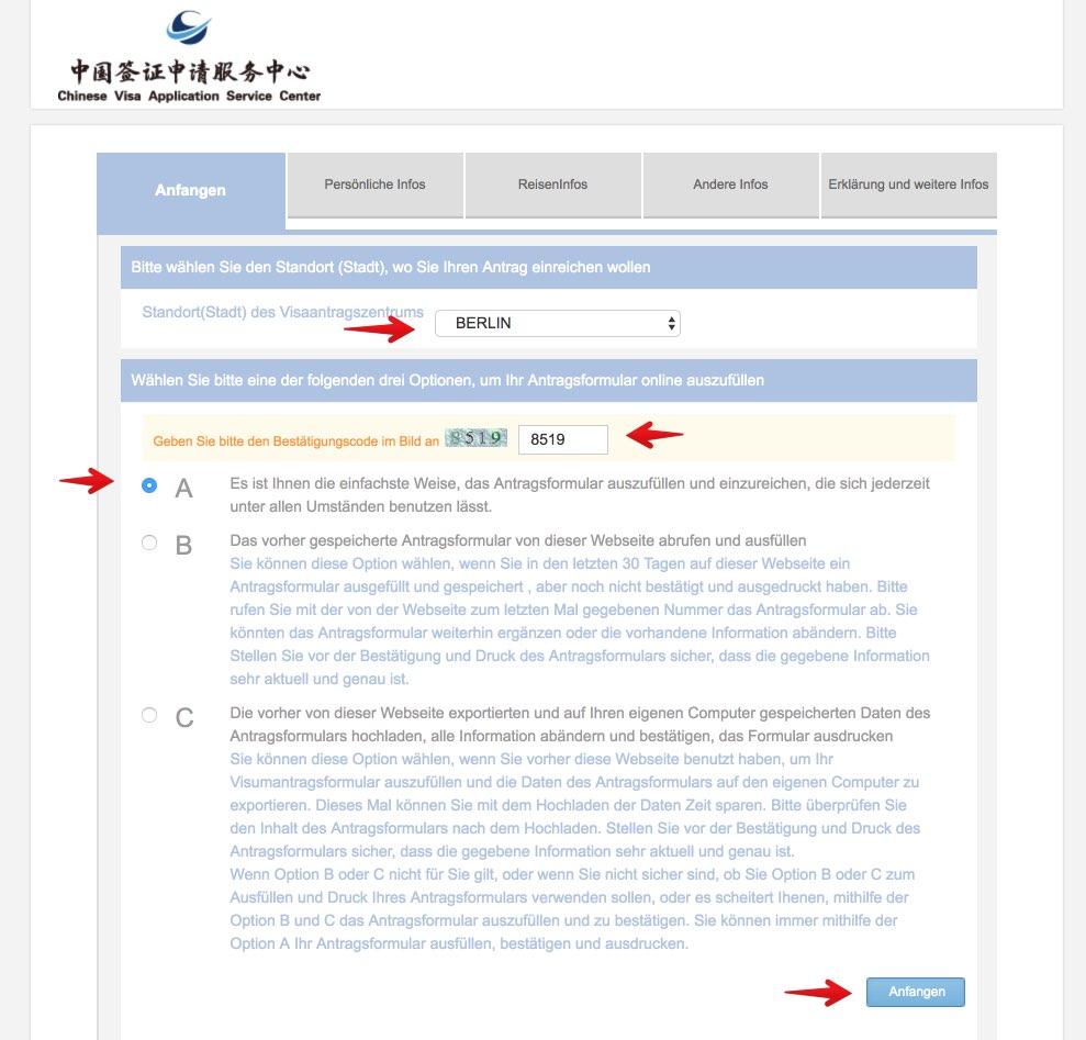 Fullen Sie das chinesische Visumantragsformular 5 aus
