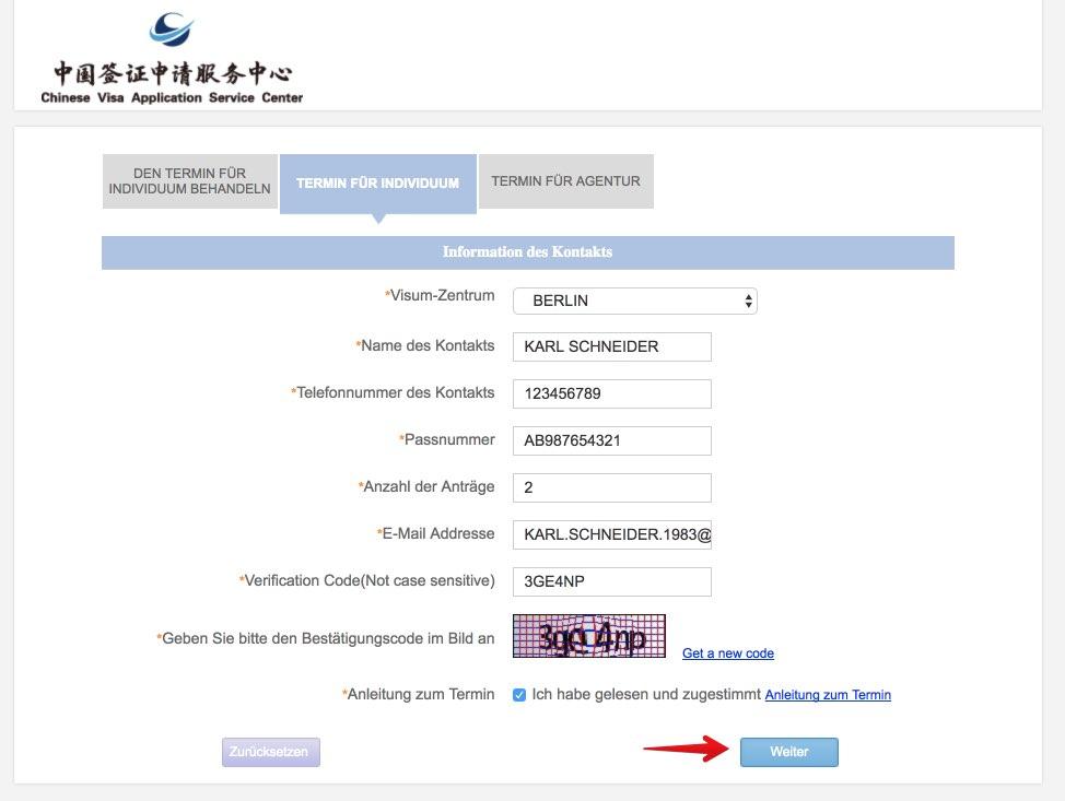 Termin entwerfen - Chinesisches Visum in Deutschland - Chinesisches Visumzentrum