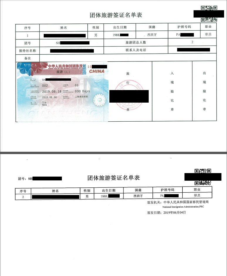 Chinesisches Gruppenvisum