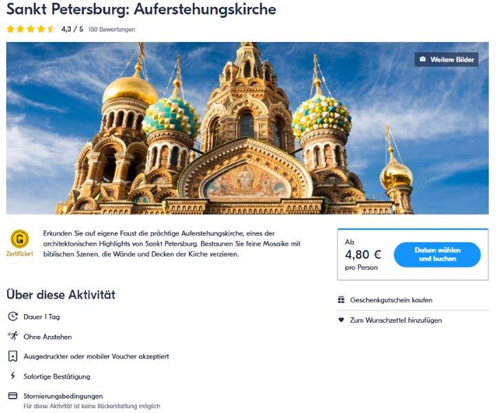 Sankt Petersburg - Auferstehungskirche - Tickets - GetYourGuide
