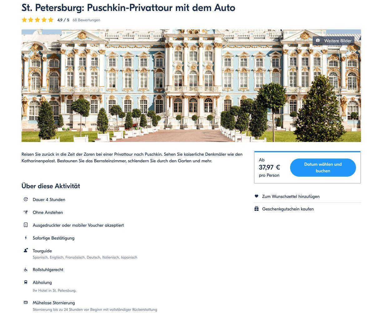 St Petersburg Puschkin-Privattour mit dem Auto