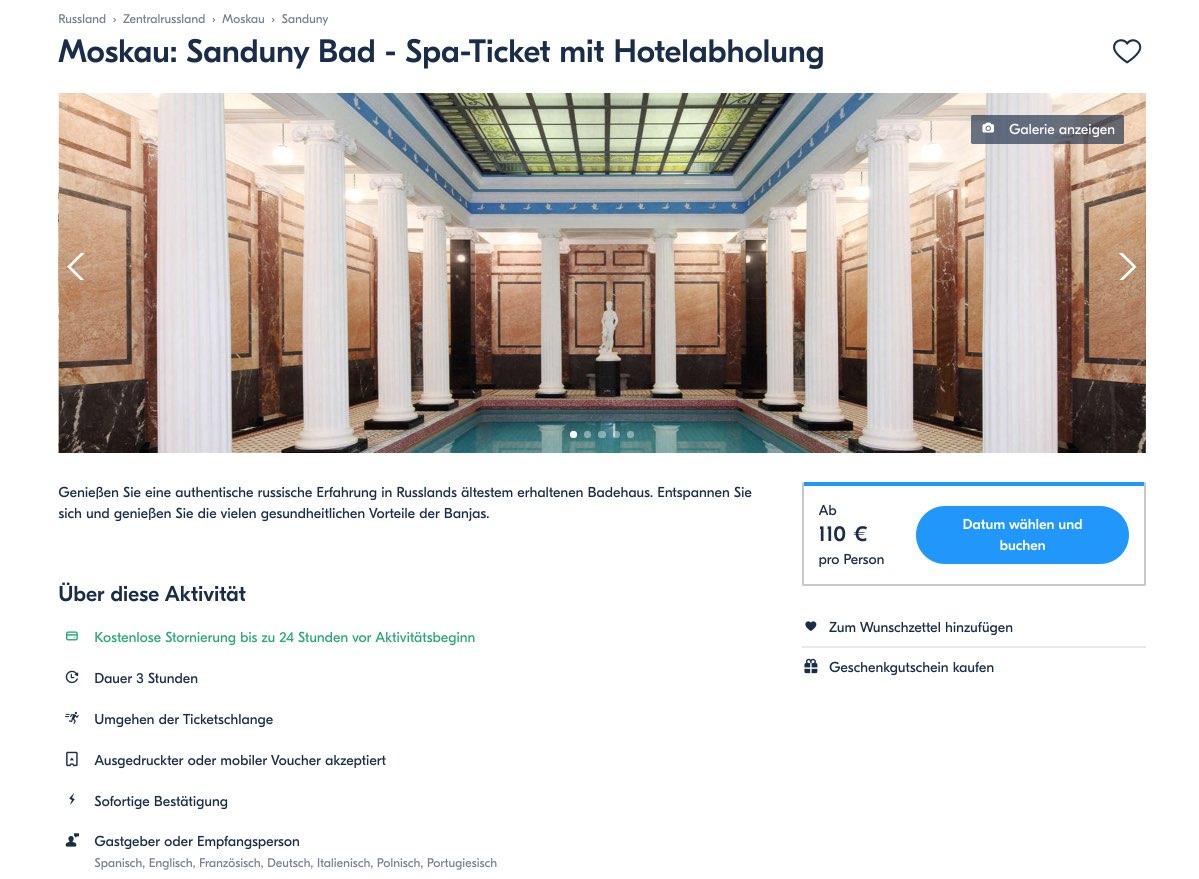 Moskau - Sanduny Bad - Spa-Ticket mit Hotelabholung - Moskau - Russland
