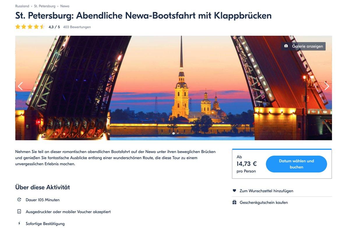 Abendliche Newa-Bootsfahrt mit Klappbrucken - St. Petersburg