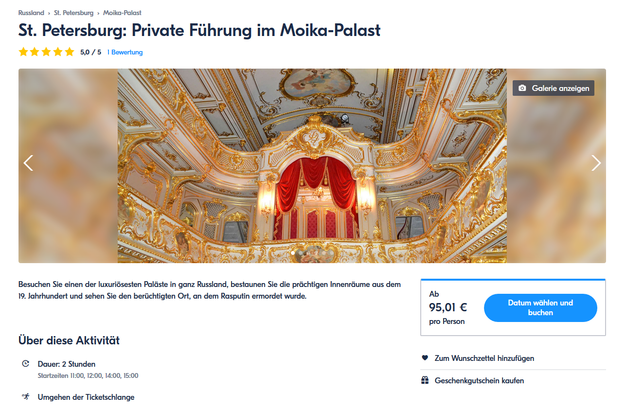 Private fuhrung im Moika-Palast - St. Petersburg